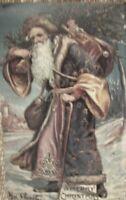 VINTAGE Victorian CHRISTMAS Santa Claus Saint Nick metal sign holiday 16 x 10