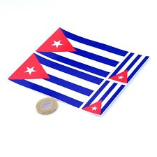 "Cuba Flag Stickers x4 3"" & 2"" Car Vinyl Rally Racing Window Decals"