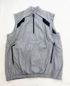 Adidas Climaproof Wind Pullover Vest Mens Large Gray 1/4 Quarter Zip