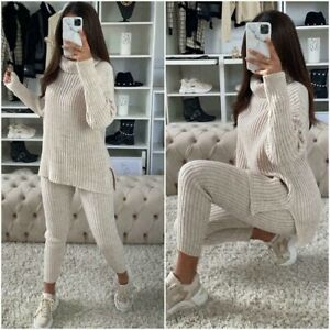 Ladies Chunky Knitted Ribbed High Polo Neck Top Bottom Lounge Wear Tracksuit Set