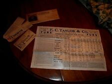 Vintage 1913 Fc Taylor Fur Trapping mailer, tags