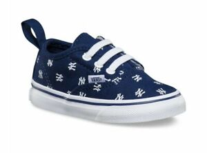 Vans Off The Wall Toddler Infant Baby X New York Yankees Elastic Lace Shoes