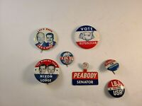 Vintage Lot Of 7 Political Campaign  Buttons Tabs Nixon, Ike, LBJ, Kennedy