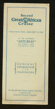 1927 Ss Asturias Brochure - 2nd Great African Cruise - Royal Mail Steam Packet
