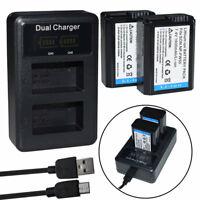 NP-FW50 Battery or Led Charger for Sony Alpha 7R A3000 A5000 A6000 NEX-5 a6300