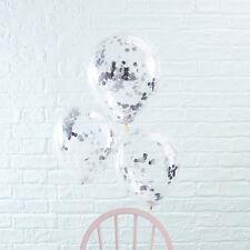 Luftballon Luftballons Konfetti silber (5 Stück) Hochzeit Geburtstag
