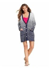Dotti Blue Striped Long Sleeve Button Front Cardigan Swimsuit Cover Up XS NWT