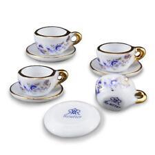 DOLLHOUSE Blue Onion Tea Cup Set 1.365/5 Reutter for 4 Miniature