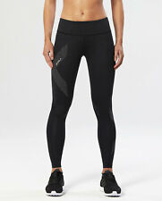 2XU Mid-Rise Reflective Women's Compression Tight - Black/Dotted Reflective Logo