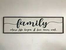 Family sign where life begins love never ends Extra Large 4 feet farmhouse style