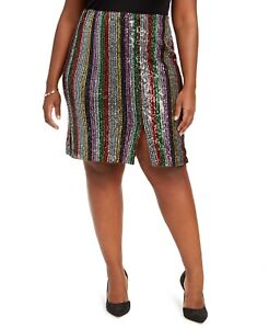 INC International Concepts Women's Plus Size Midi Skirt Rainbow Sequin Size 2X