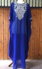 Moroccan Dubai abaya kaftan caftan royal blue beads sequins jewels maxi dress