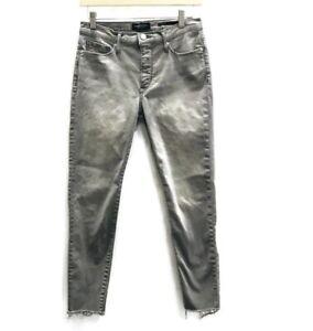 Banana Republic Womens Jeans Raw Hem Short Light Gray Mid-Rise Skinny Sz 28P