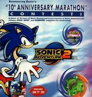 Sonic The Hedgehog SEGA Adventure 2 Video Game 10th Anniv 2001 Vintage Print Ad