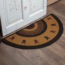COUNTRY PRIMITIVE RUSTIC HALF CIRCLE JUTE RUG VHC BRANDS ~ HERITAGE FARMS STAR