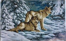 Tapestry Panels Textile Picture Wolves Snow Crafting Fabric 29 1/8x18 7/8in