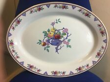 "ANTIQUE GRIMWADES WINTON WARE PLATTER WITH FRUIT TREE DESIGN 19"" x 14.25"""