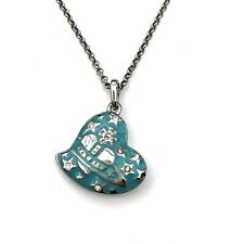 Vivienne Westwood Blue Heart Orb Rhinestone Diamante Necklace Silver Authentic