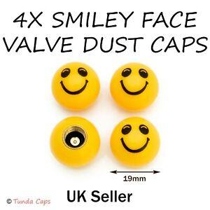 4x Smiley Face Yellow Quality Valve Dust Caps Cars Van motorbikes Bikes Kids Fun