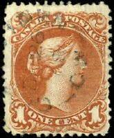 Canada #22a used F 1868 Queen Victoria 1c brown red Large Queen Watermarked Both