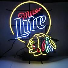 "New Miller Lite Chicago Blackhawks NHL Beer Man Cave Neon Sign 24""x20"""