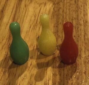 LOT of 3 dollhouse diorama miniature mini plastic BOWLING PINS red green yellow