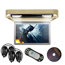 "13.3"" HD Car Roof Mount Overhead Monitor CD DVD Player Games FM USB IR Headsets"