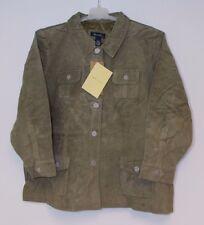 NWT Denim & Co. Olive Suede Washable Leather Jacket Women's Plus 3X