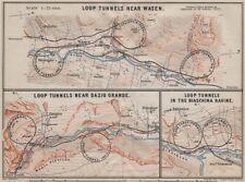 ST GOTTHARD RAILWAY SPIRAL/LOOP TUNNELS Wassen Freggio Prato Biaschina 1905 map