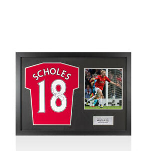Framed Paul Scholes Signed Manchester United Shirt 2019/20, Number 18 - Panorami