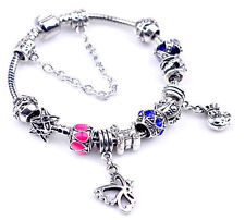 European Charm Bracelet Crystal Sterling Silver Plated Chain Beads Charms T47