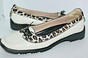 WOMENS ANIMAL PRINT WALTER GENUIN LEATHER SLIP ON GOLF SHOES LOAFERS 40 OR 9