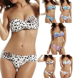 DAMEN BANDEAU BIKINI PUSH UP SET TOP HOSE AUSWAHL FARBEN PUSHUP Gr. XS S M  NEU!