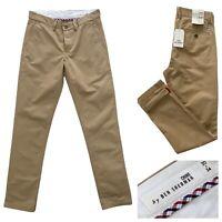 BEN SHERMAN Men's Beige Slim Fit Chino Trousers Size 30 W 34 L NEW RRP £65