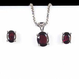 3.64 Gms Natural Garnet 925 Silver Pendant Earrings Set Top Quality Gemstones