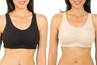 Fruit of the Loom Women's Sport Bra with Cookies ,, Sand/Black, Size 36 RsTE