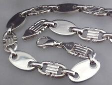 925 echt Silber Plattenkette 17mm XXL 75cm Steigbügelkette Neu MASSIV Hals kette