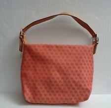 Dooney Bourke Monogram Fabric Handbag Purse Shoulder Bag Silver Hardware