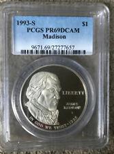 1993 S PCGS PR 69 DCAM Madison Silver Dollar -T