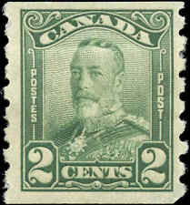 Mint H Canada F+ Scott #161 COIL 2c 1929 King George V Scroll Issue Stamp