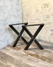 2 X cruz de acero bruto Hecho a Mano Banco elementos muebles patas de asiento estilo industrial