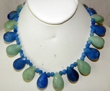 AVENTURINE Blue & Green FACETED TEAR DROP CHOKER NECKLACE STERLING Silver CLASP
