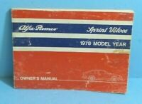 78 1978 Alfa Romeo Sprint Veloce owners manual with Wiring Diagram