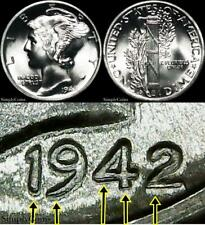 1942-D Ddo #3 Doubled Die Obverse Mercury Dime ~ Gem Bu Uncirculated Fb ~ Mq