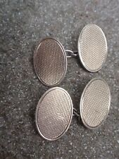 VINTAGE 9ct GOLD ON STERLING SOLID SILVER ENGINE CUT DOUBLE FACE CHAIN CUFFLINKS