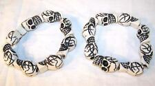 2 RING OF WHITE SKULLS BRACELET skeleton circle skull head jewelry mens womens