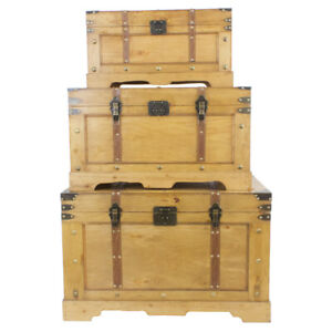 Vintage Style Wooden Industrial Storage Trunks Arctic Box