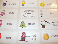 Christmas Colors Laminated Flashcards. Preschool Picture and Word flashcards.
