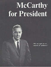 """1968 GENE McCARTHY """"AN AMERICA OF CONFIDENCE"""" PICTURE CAMPAIGN BROCHURE"""