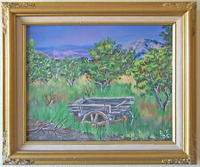 Original Acrylic Painting- Old Wagon in a Cherry Orchard